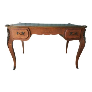 French Louis XV Style Floral Marquetry Ormolu Mounted Leather Top Bureau Plat For Sale