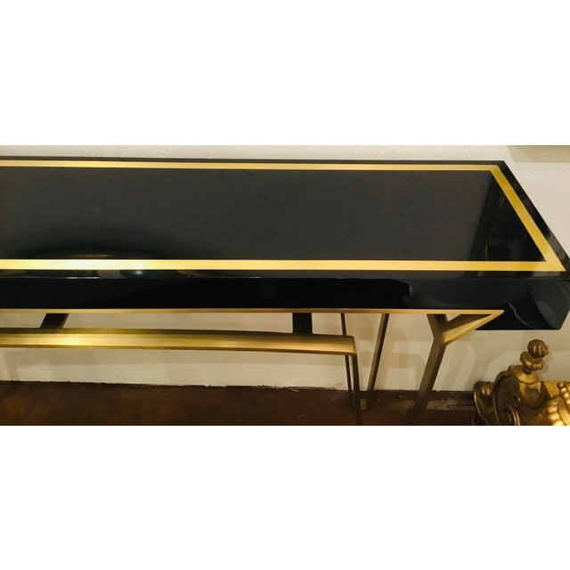 Modern Caracole Signature Classically Modern Black and Gold Moderniste Console Table For Sale - Image 3 of 7