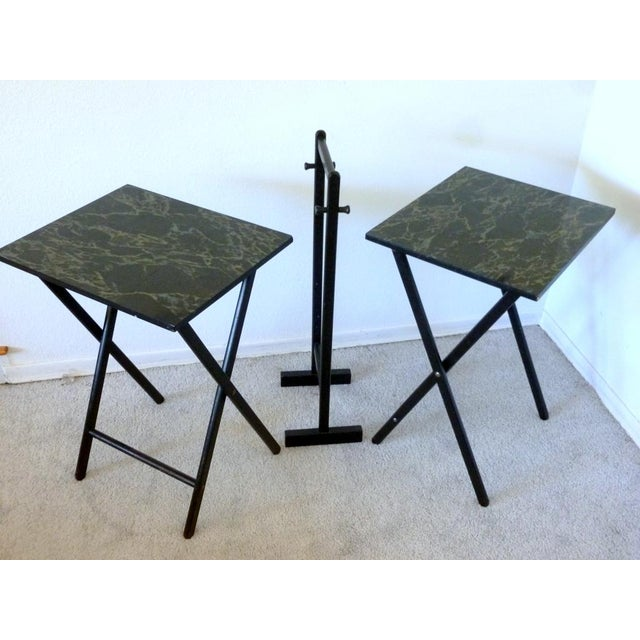 Mid-Century Faux Granite Folding Tables - A Pair - Image 2 of 6