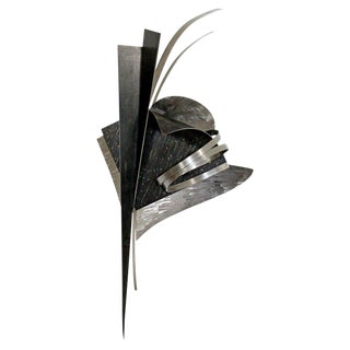Contemporary Signed Steel Metal Wall Sculpture Signed Christiane Martens, 1990s For Sale