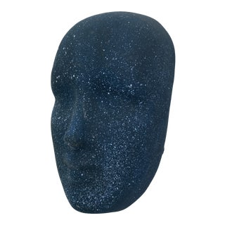 Speckled Blue Ceramic Face Mask Figure For Sale