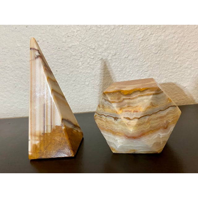 Pair of vintage onyx geometric objects d'art that could also be used as paperweights. Excellent vintage set.
