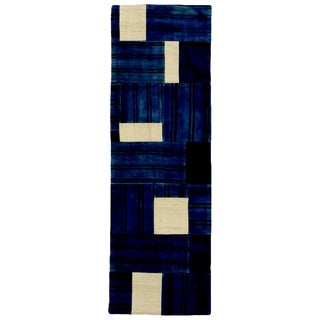 Contemporary Patchwork Blue and White Wool Runner - 2′ × 6′3″ For Sale