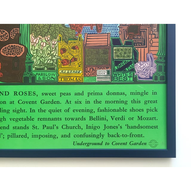 """Rare Vintage 1965 John Griffiths """"Covent Garden: Rhubard and Roses"""" Framed Lithograph Print London Transport Poster For Sale - Image 12 of 13"""