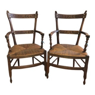 Early 20th Century Vintage Rush Seat Arm Chairs- A Pair For Sale