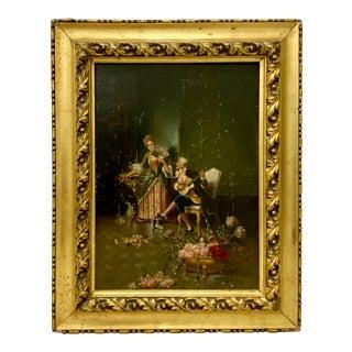 Classic Italian Romance Oil Painting Signed Castiglione For Sale