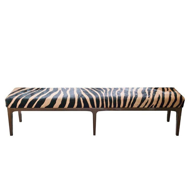 Wood Walnut Bench With Zebra Stencil Cowhide Upholstered Seat For Sale - Image 7 of 7