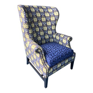 Bernhart Custom Upholstered Wingback Chairs For Sale
