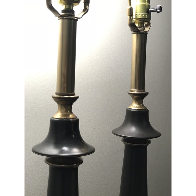 Hollywood Regency Neoclassical Style Brass and Black Lamps - a Pair For Sale In Chicago - Image 6 of 7