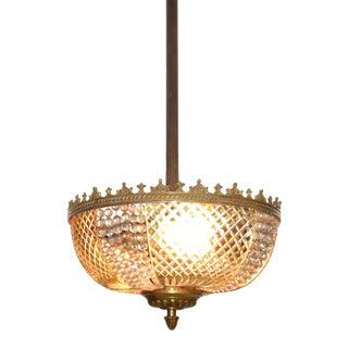 Lobmeyr Style Crystal and Bronze Pendant Light Mid-Century Modern Austria 1950s For Sale