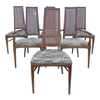 Mid-Century Modern Cane Back Dining Chairs- Set of Six For Sale