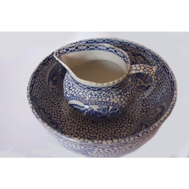 Chinoiserie 1930's Vintage William Adams Chinese Bird Pattern Bowl & Jug For Sale - Image 3 of 13