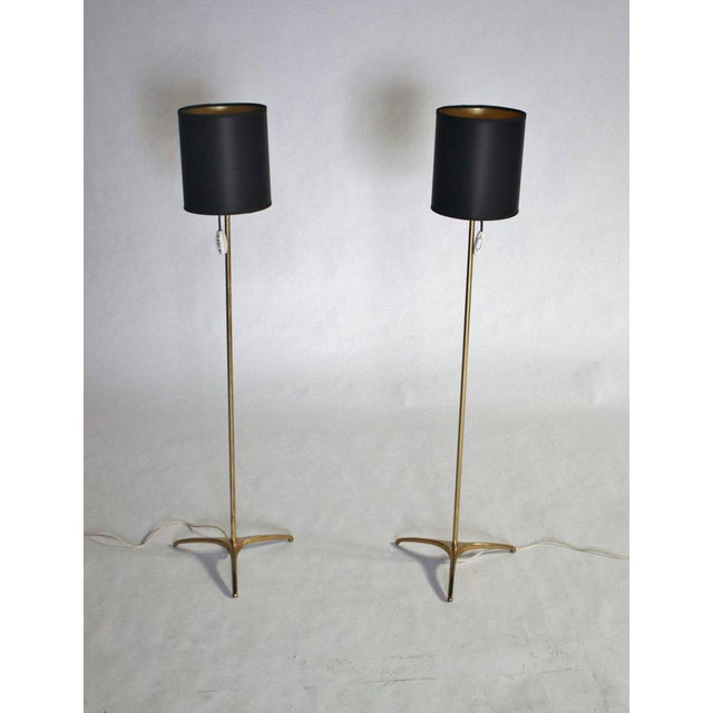 Pair of midcentury minimalist brass floor lamps designed by Svend Aage Holm-Sorensen, Denmark 1960s with new custom black...