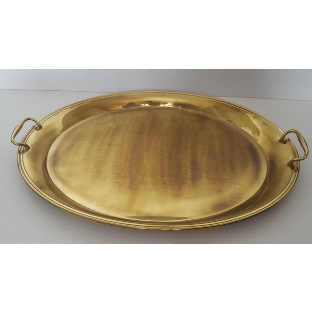 Large Vintage Hollywood Regency Brass Handled Serving Tray For Sale - Image 11 of 11