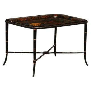 Regency Style Faux Bamboo Painted Tole Tray Table For Sale