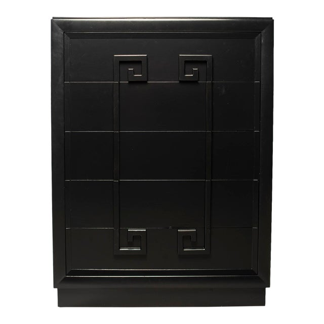 Tall Kittinger Satin Black Chest of Drawers With Greek Key Detail For Sale