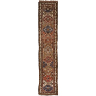 "Antique Kurdish Runner Rug - 3'4""x 15'10"""