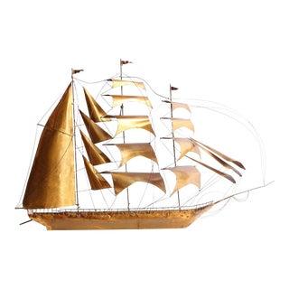 Mid-Century Handmade Brass Ship Wall Sculpture