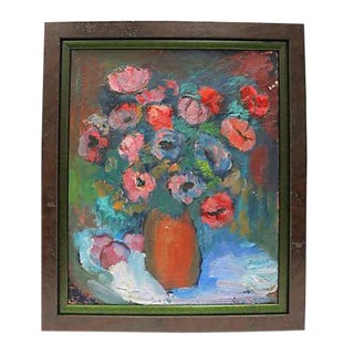 Mid-Century French Floral Oil Painting