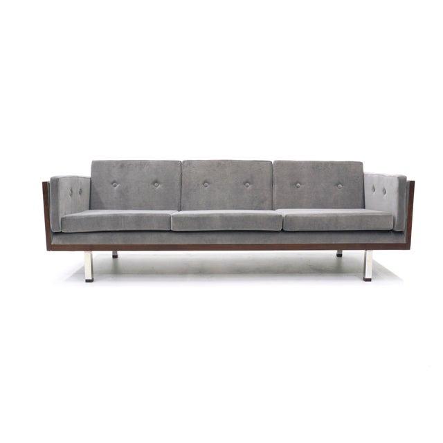 Gray Danish Modern Rosewood Case Sofa by Jydsk Møbelværk, Gray Velvet Upholstery For Sale - Image 8 of 8
