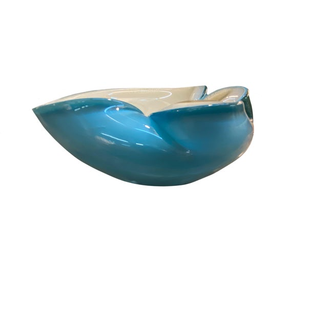 Italian Mid 20th Century Murano Blue and White Bowl For Sale - Image 3 of 5