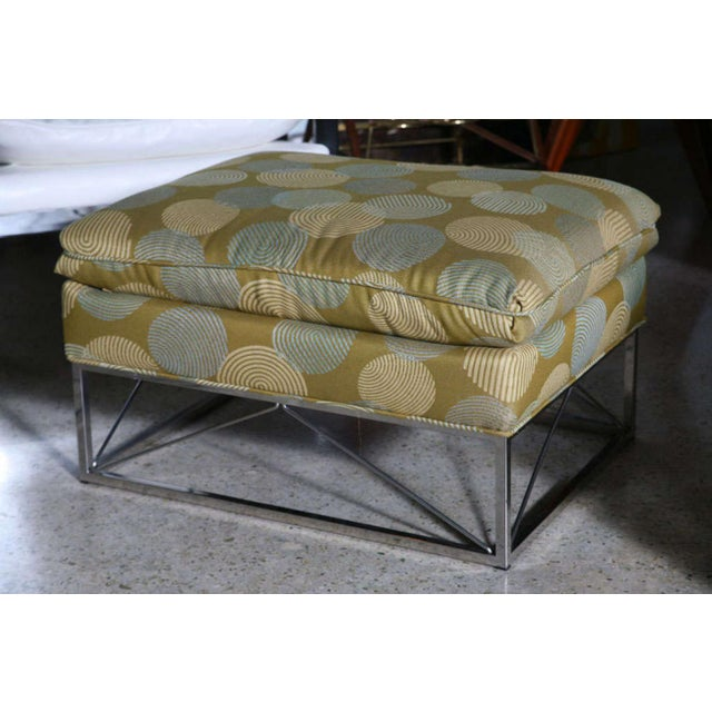 Fine Pair of Michel Boyer Chrome High Back Chairs and Ottoman For Sale - Image 9 of 9