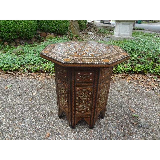 1920s Antique Middle Eastern Arabesque Style Mother of Pearl Inlaid Table For Sale - Image 5 of 13