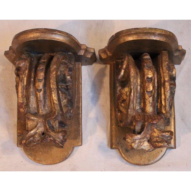 Mid 18th Century Antique Carved Wood Wall Brackets/Shelves - Pair For Sale - Image 5 of 5