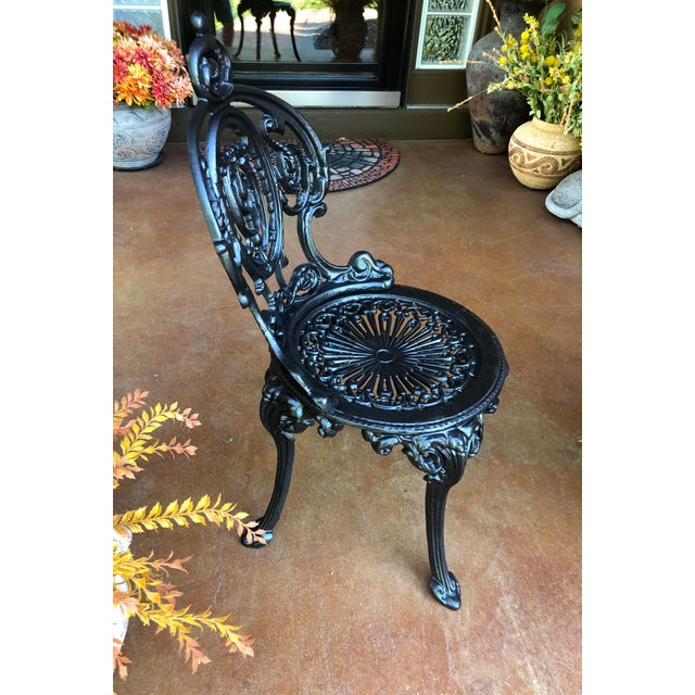 Victorian Early 20th Century French Victorian Cast Iron Garden Chair by Atlanta Stove Works For Sale - Image 3 of 13