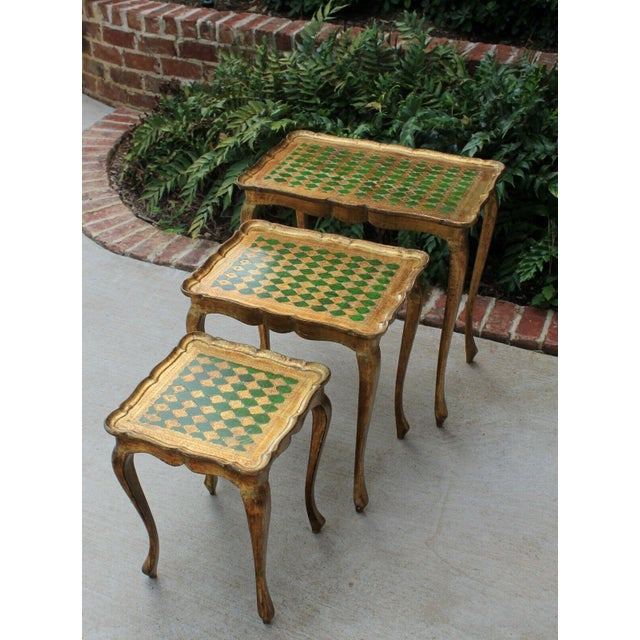 Vintage Italian Gold & Green Tole Nesting Tables Gilt Florentine Set of 3 For Sale - Image 12 of 13