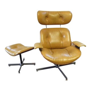 Vintage Mid Century Selig Lounge Chair and Ottoman For Sale