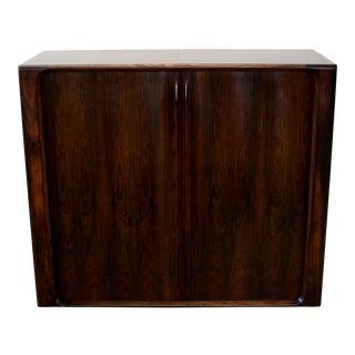 Danish Modern Rosewood Tambour Door Wardrobe For Sale