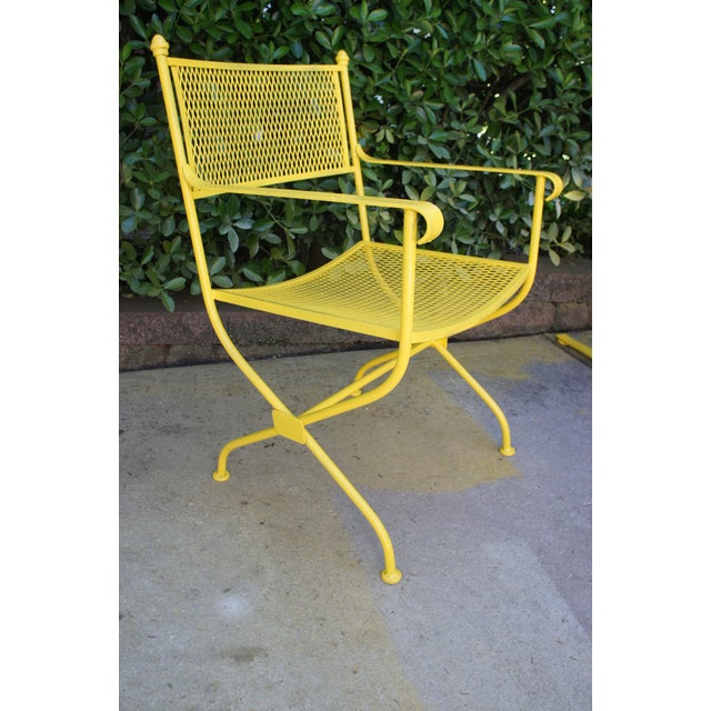 Vintage Mid Century Buttercup Yellow French Directoire Style Wrought Iron Patio Set- 5 Pieces For Sale - Image 10 of 13