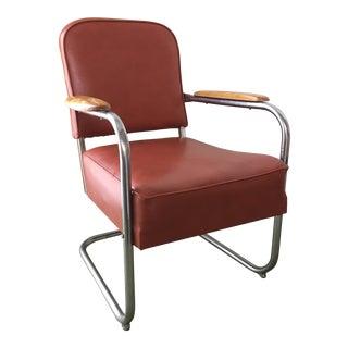 Vintage Chrome Vinyl Upholstered Lounge Chair