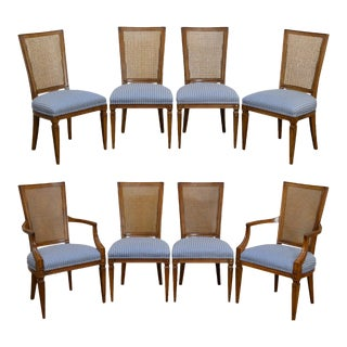 Directoire Style Vintage Cane Back Dining Chairs - Set of 8