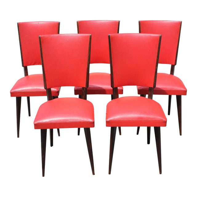 1940s Vintage French Art Deco Solid Mahogany Dining Chairs- Set of 5 For Sale - Image 13 of 13
