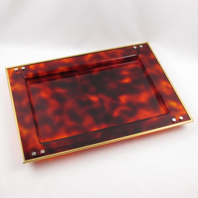 Mid-Century Italian Tortoise Lucite Barware Folding Serving Tray For Sale - Image 9 of 11