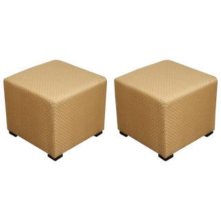 Early 21st Century Gold Cube Upholstered Moroccan Ottomans- a Pair For Sale