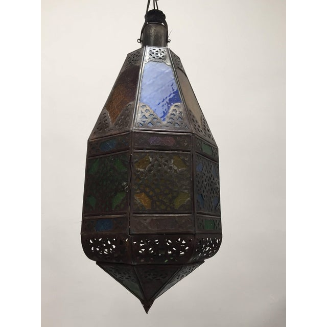 Bronze Moroccan Light Fixture With Colored Glass and Metal Filigree Moorish Designs For Sale - Image 7 of 10