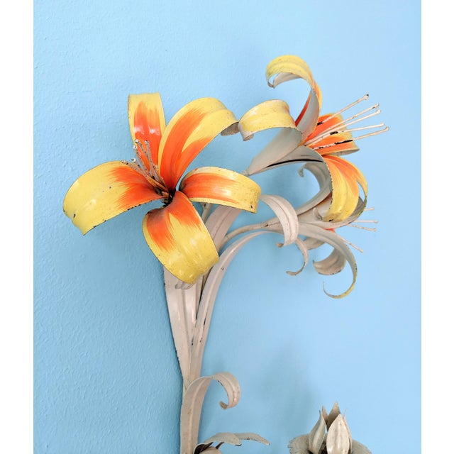 Mid 20th Century Large Mid 20th Century Italian Tole Yellow & Orange Lily Wall Sconces- a Pair For Sale - Image 5 of 11