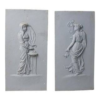 1930s Vintage Pair of Cast Iron Panels- A Pair For Sale
