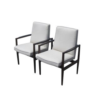 Pair of Jens Risom Style Arm Lounge Chairs For Sale