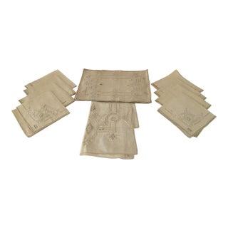 Vintage Embroidered Linen Placemats, Napkins & Runner - Set of 17 For Sale