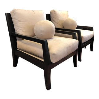 Kreiss Suede Lounge Chairs -A Pair For Sale