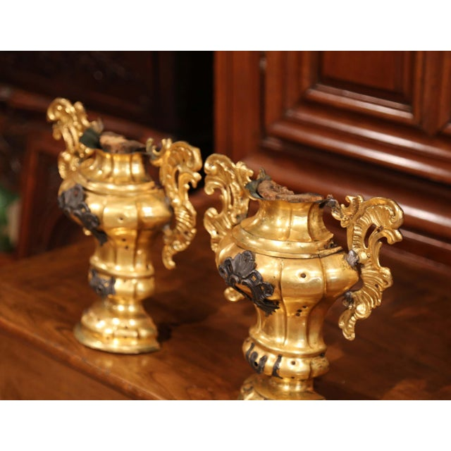 Italian Pair of 18th Century Italian Carved Oak and Gilt Brass Altar Ornament Vessels For Sale - Image 3 of 7