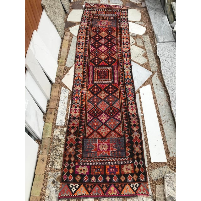 """Ebony Hand Made Vintage Turkish Runner- 2'10""""x11'2"""" For Sale - Image 8 of 9"""
