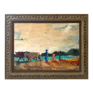 1980s Oil Painting of Farmer Family For Sale