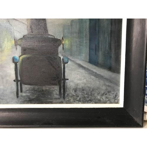 1962 Evening City Scape in a Carriage Oil on Canvas Painting by D Schwartz - Image 6 of 7