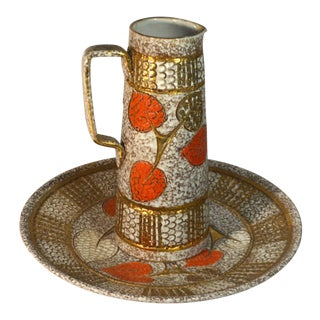 Elbee Fanciullacci Italian Art Pottery Pitcher & Plate, Signed For Sale