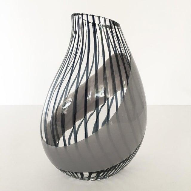 Mediterranean Livio Seguso Striped Murano Glass Vase For Sale - Image 3 of 13